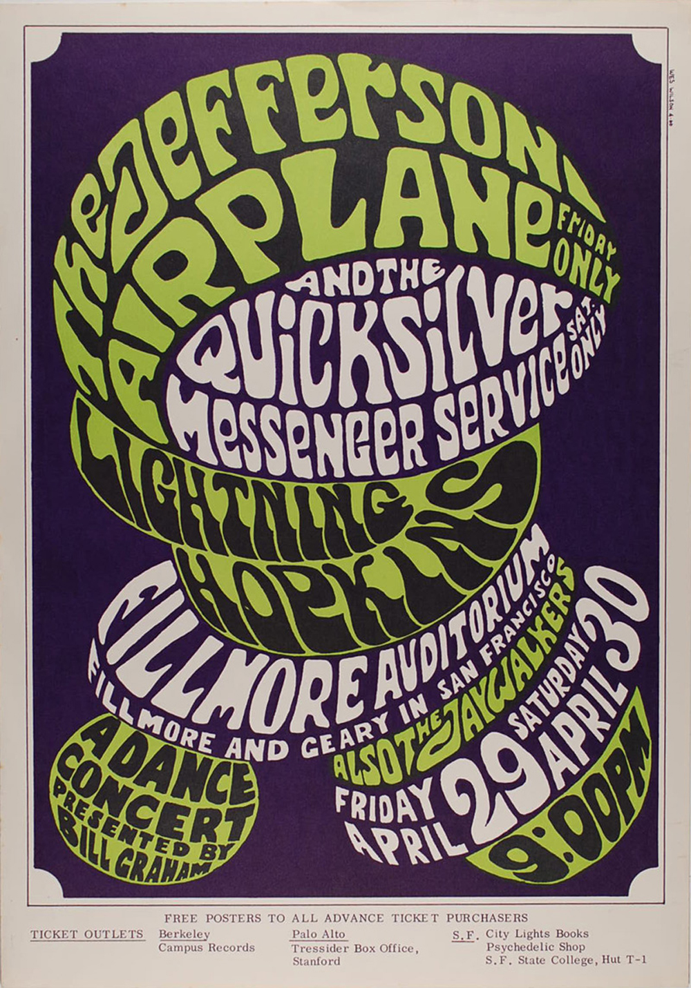 Poster design 1960s - April 29 30 1966 Artist Wes Wilson Jefferson Airplane Quicksilver Messenger Service Lightning Hopkins At Fillmore Auditorium Sf