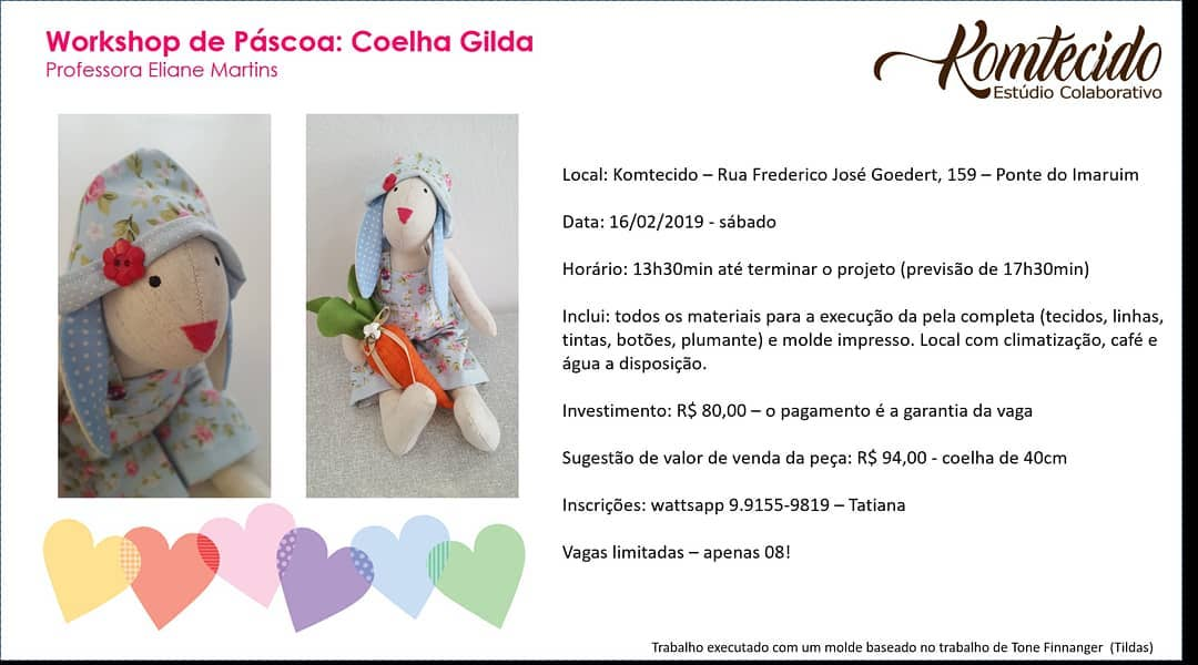 Workshop de Pascoa: coelha Gilda