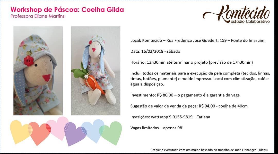 Workshop de Pascoa: coelha Gilda