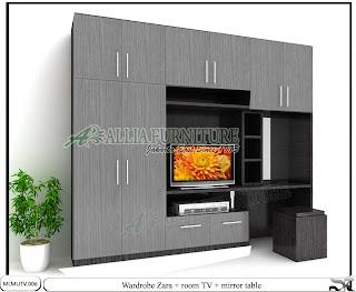Lemari minimalis tv unit kaca rias Zara