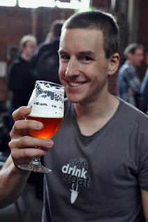 Photo of blogger James drinking a Mountain Goat Triple Hightail at the brewery