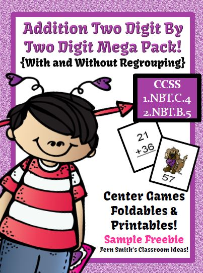 Fern Smith's FREE Valentines Day Two Digit By Two Digit Addition Center, Foldable & Printable at Classroom Freebies