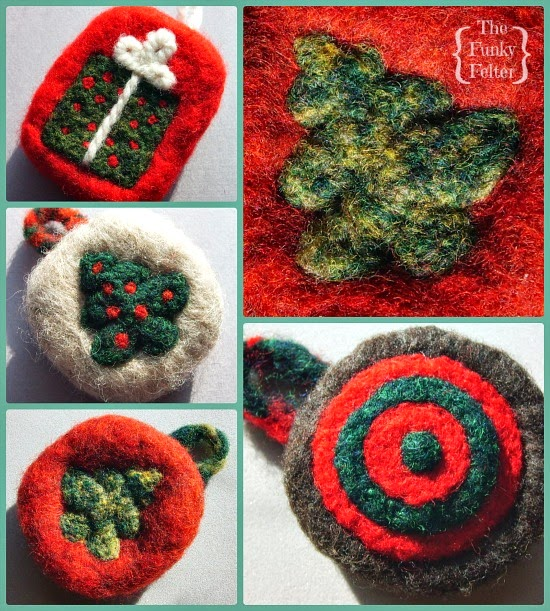 needle felted wool Christmas ornaments using cookie cutters handmade by the funky felter