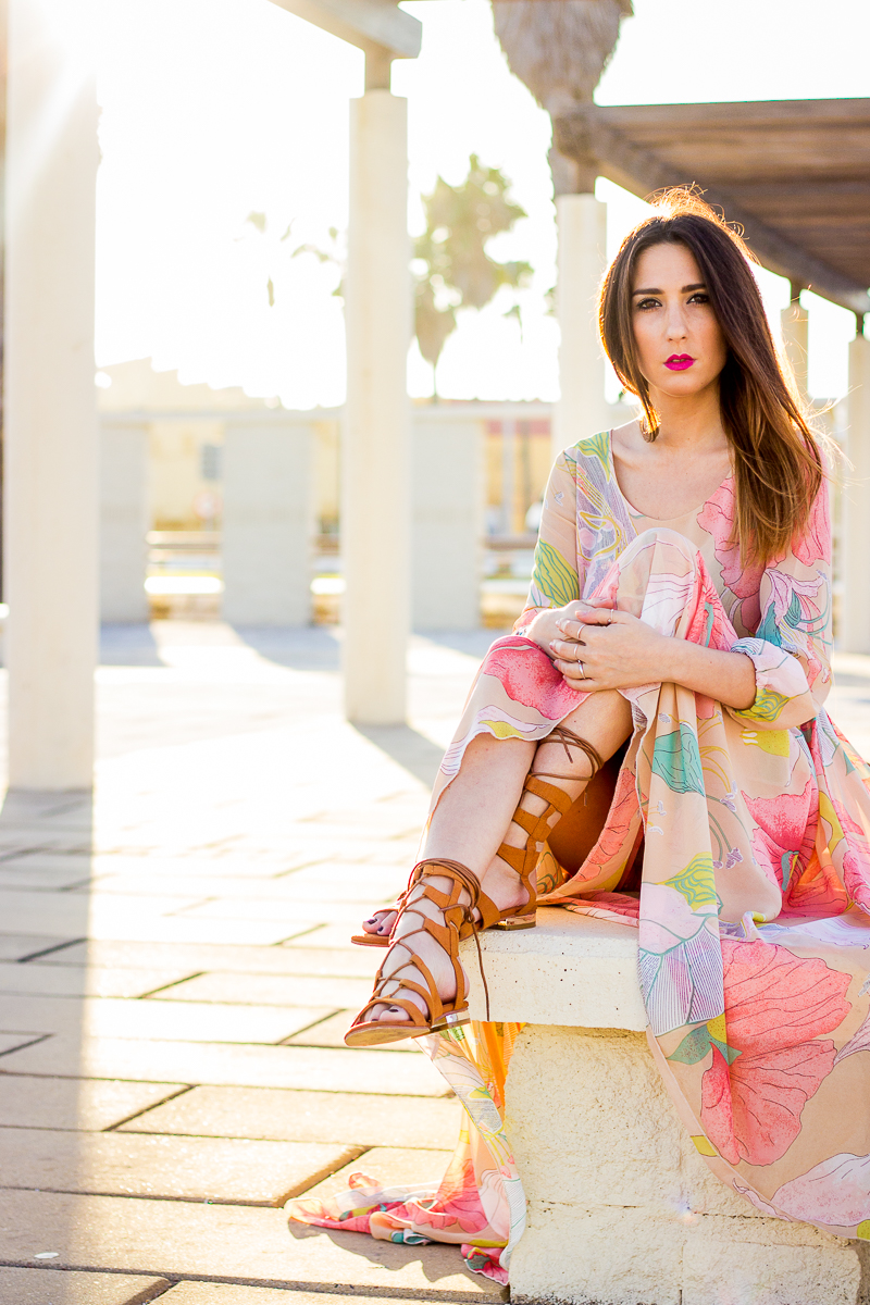 maxi dress and gladiator sandals