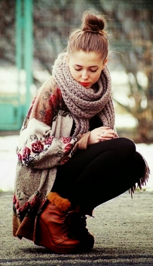 Amazing Floral Cardigan With Scarf and Stylish Boots