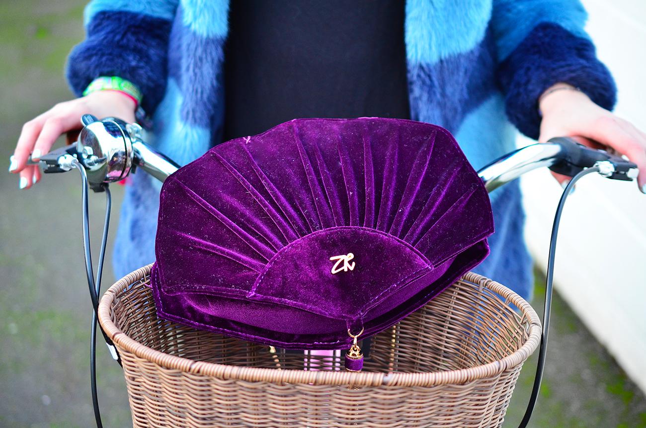 Zandra Rhodes Handbags Shell Purple Velvet