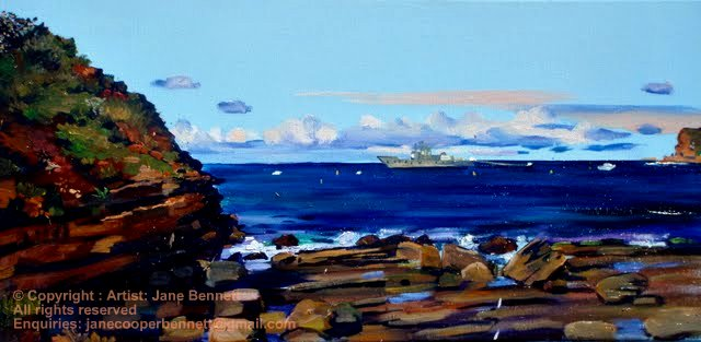 plein air oil painting of Ex HMAS Adelaide off North Avoca painted on the Skillion in the morning by artist Jane Bennett