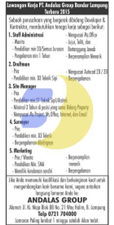 Recruitment/ Lowongan Kerja terbaru di PT. Andalas Group Lampung
