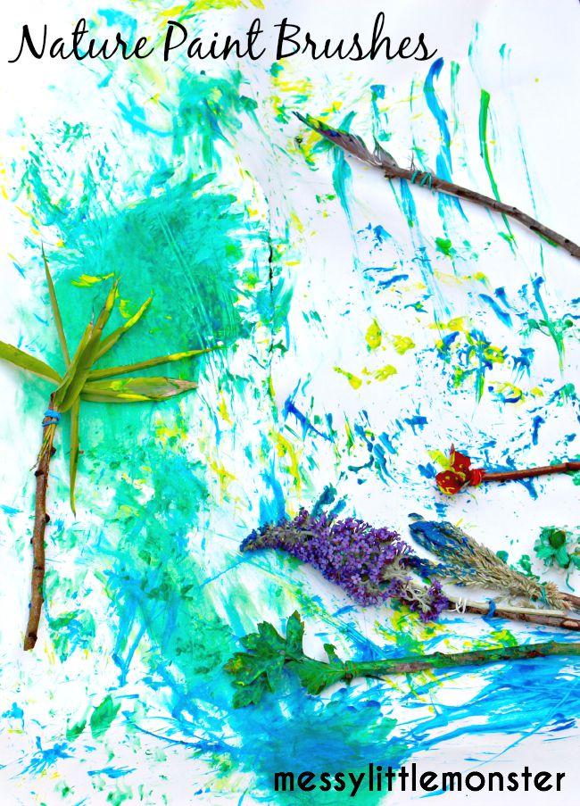 Process art using Nature paintbrushes