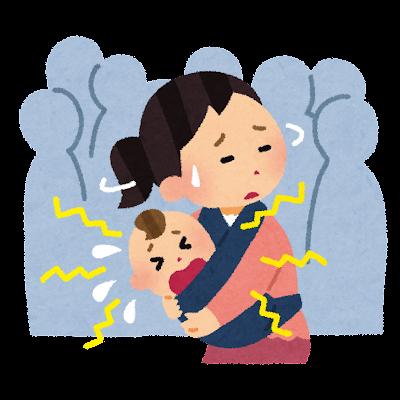 人混みで泣く赤ちゃんのイラスト