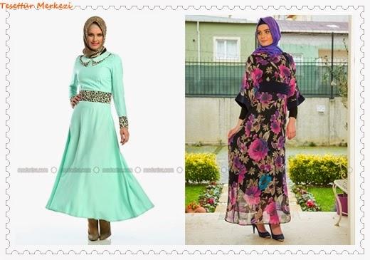 en güzel tesettür elbise modelleri 2014