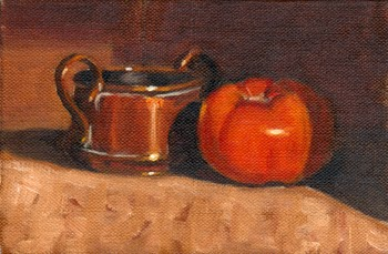 Oil painting of a small double-handled copper pot next to a red tomato.