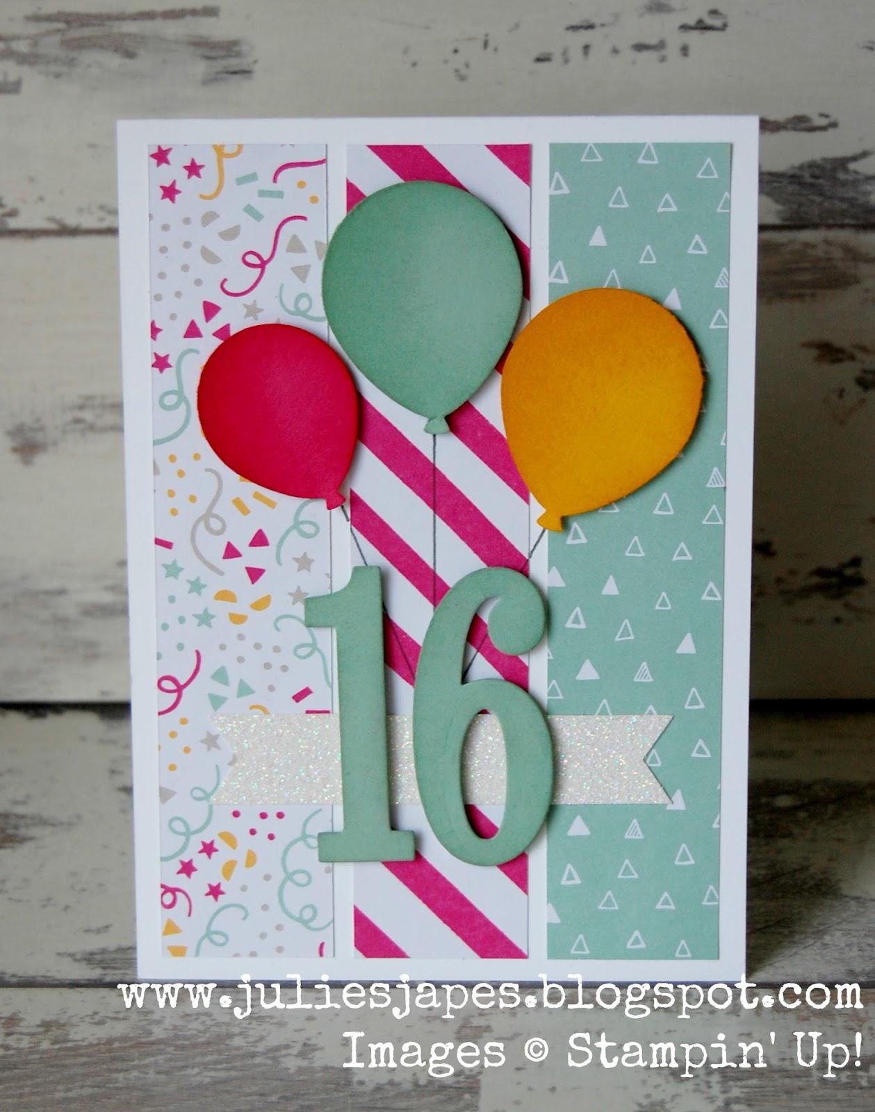 Julie Kettlewell Stampin Up UK Independent Demonstrator Order – Sweet 16 Birthday Card Ideas
