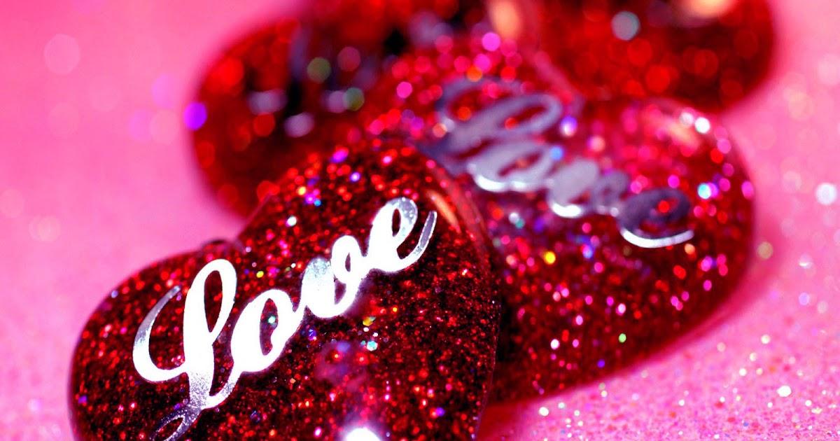 Image de coeur coeurs rouges love avec des strass et des paillettes - Coeur avec des photos ...