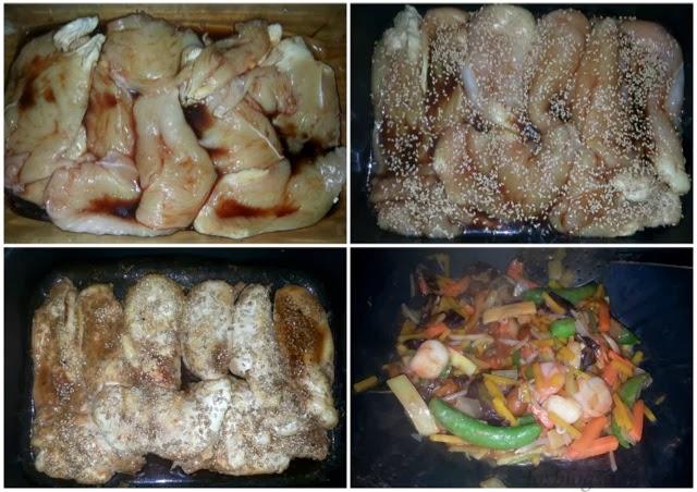 Fideos con pechugas de pollo al teriyaki y salteado de verduras asiáticas