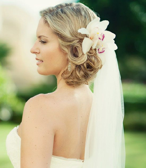 wedding hairstyles with flowers and veil wedding ideas. Black Bedroom Furniture Sets. Home Design Ideas