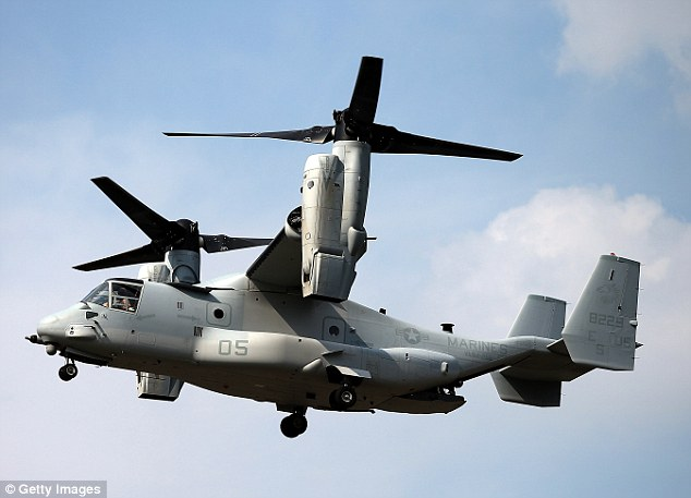 'Compromised': A V-22 Osprey pictured here is among the aircrafts for which plans were stolen