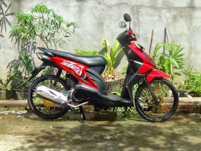 Modifikasi motor beat velg 17 merah
