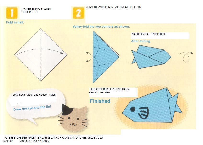wir basteln let 39 s fold and cut fish lasse uns fische ausschneiden und falten. Black Bedroom Furniture Sets. Home Design Ideas