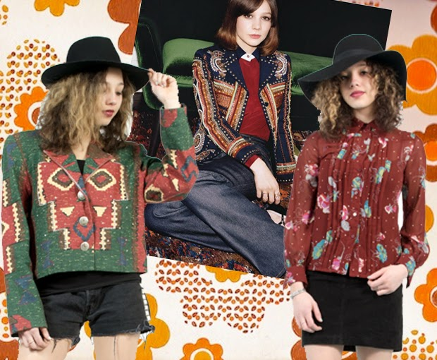 carey mulligan, 70's, boho style, bohemian, festival style, festival, aztec jacket, wall street journal, the vintage scene, asos marketplace