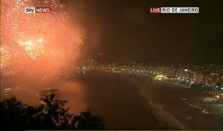 New Year 2012 Eve in Rio de Janeiro, Brazil Celebrations, Fireworks across Copacabana beach -Travel Europe Guide