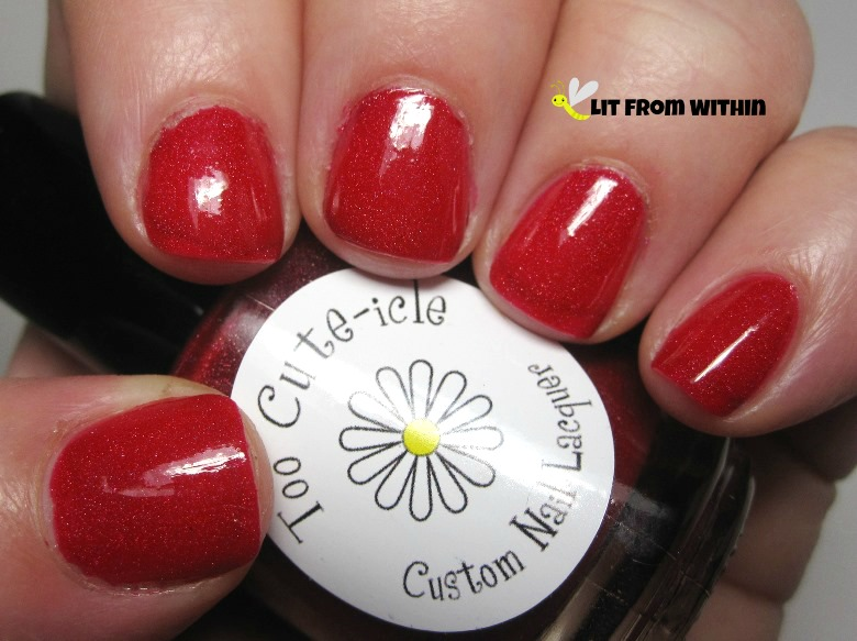 Too Cute-icle Lifeguard.  Lovely bright red jelly with a subtle scattered holo