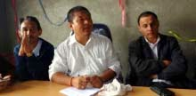 Hill TMC president Rajen Mukhia at the press meet in Darjeeling