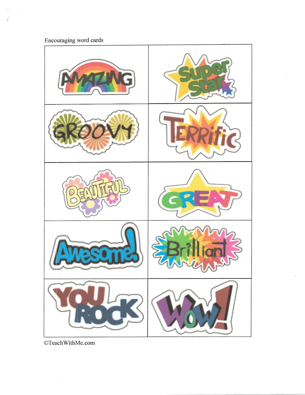 Test of Encouragement Cards for Kids