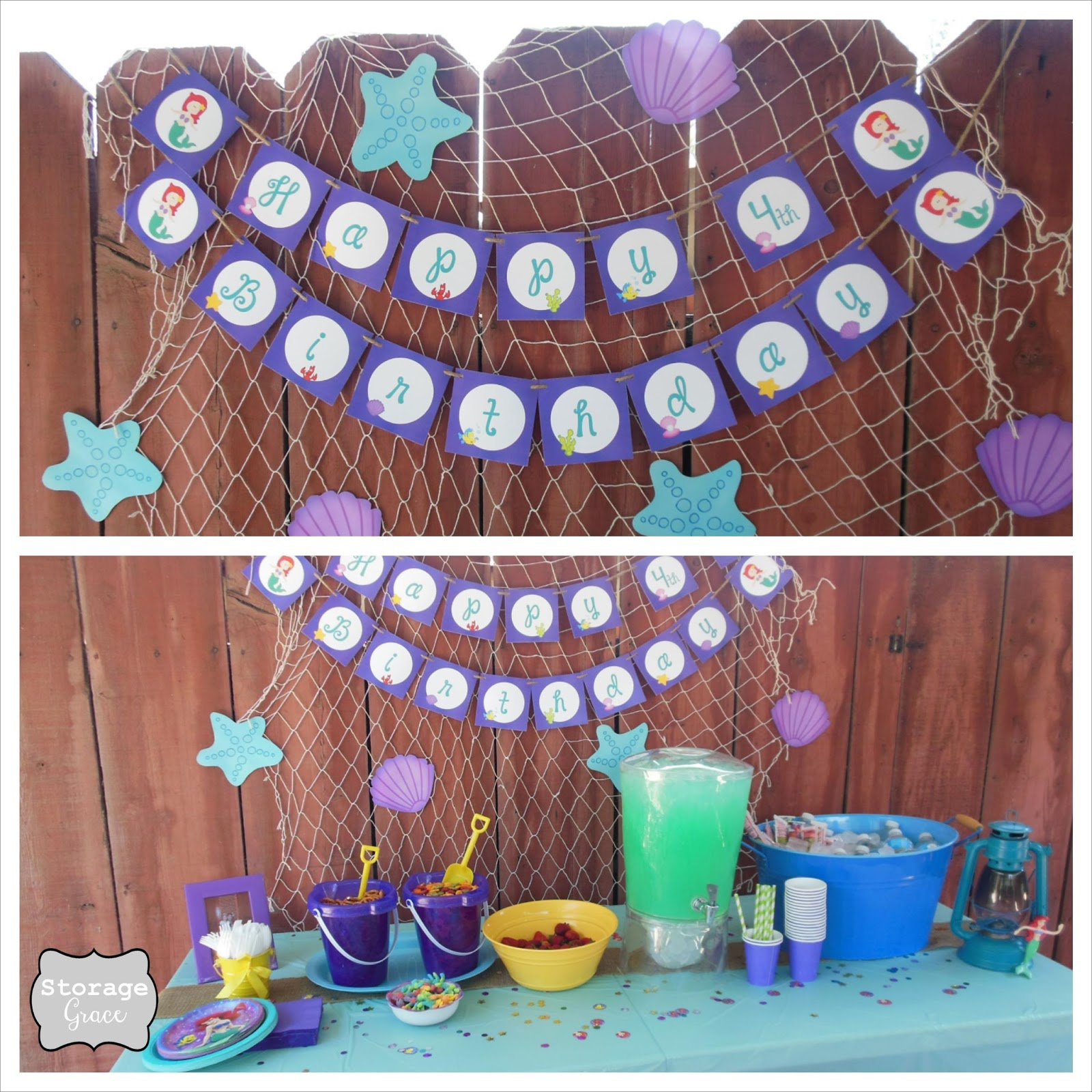Storage grace little mermaid 4th birthday party for Fish net decoration ideas