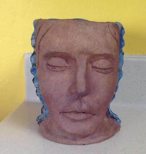 HEAD PLANTER WITH BLUE HAIR