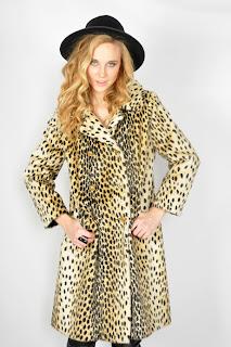 Vintage 1970's leopard print fur safari pea coat.