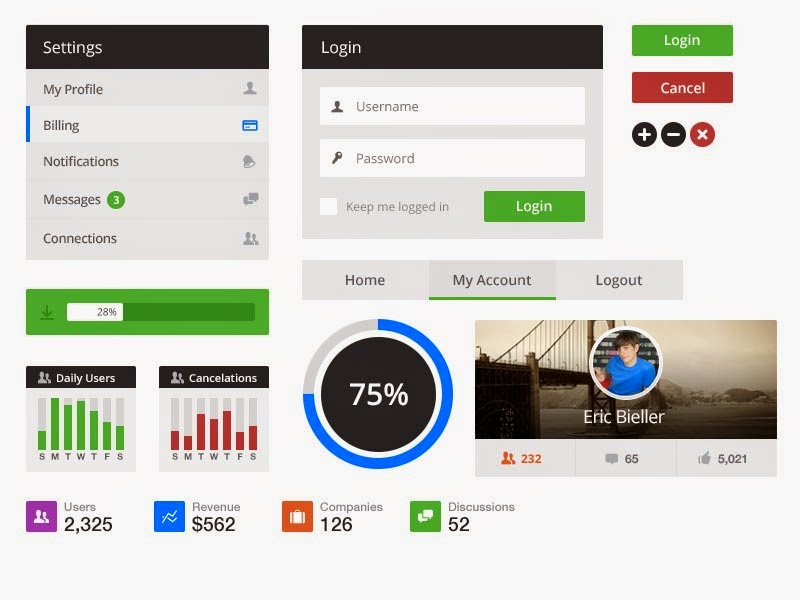 Free Flat UI Kit PSD