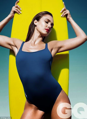 Jessica Alba hot poses sexy body in swimwear for GQ magazine UK photo shoot