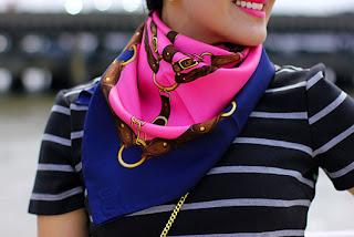 Ralph Lauren Pink Blue Silk Scarf