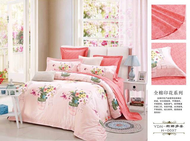 Sprei Katun Jepang Cantik Motif Bunga Pink Pottery Salem