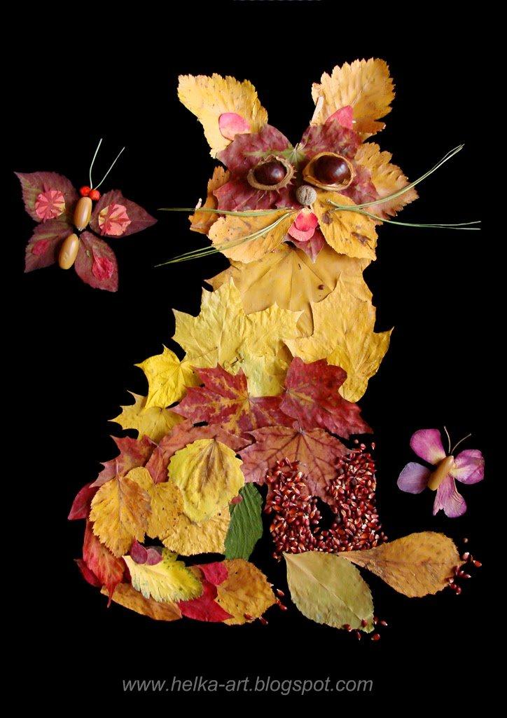 Панно из осенних листьев и цветов своими руками 69