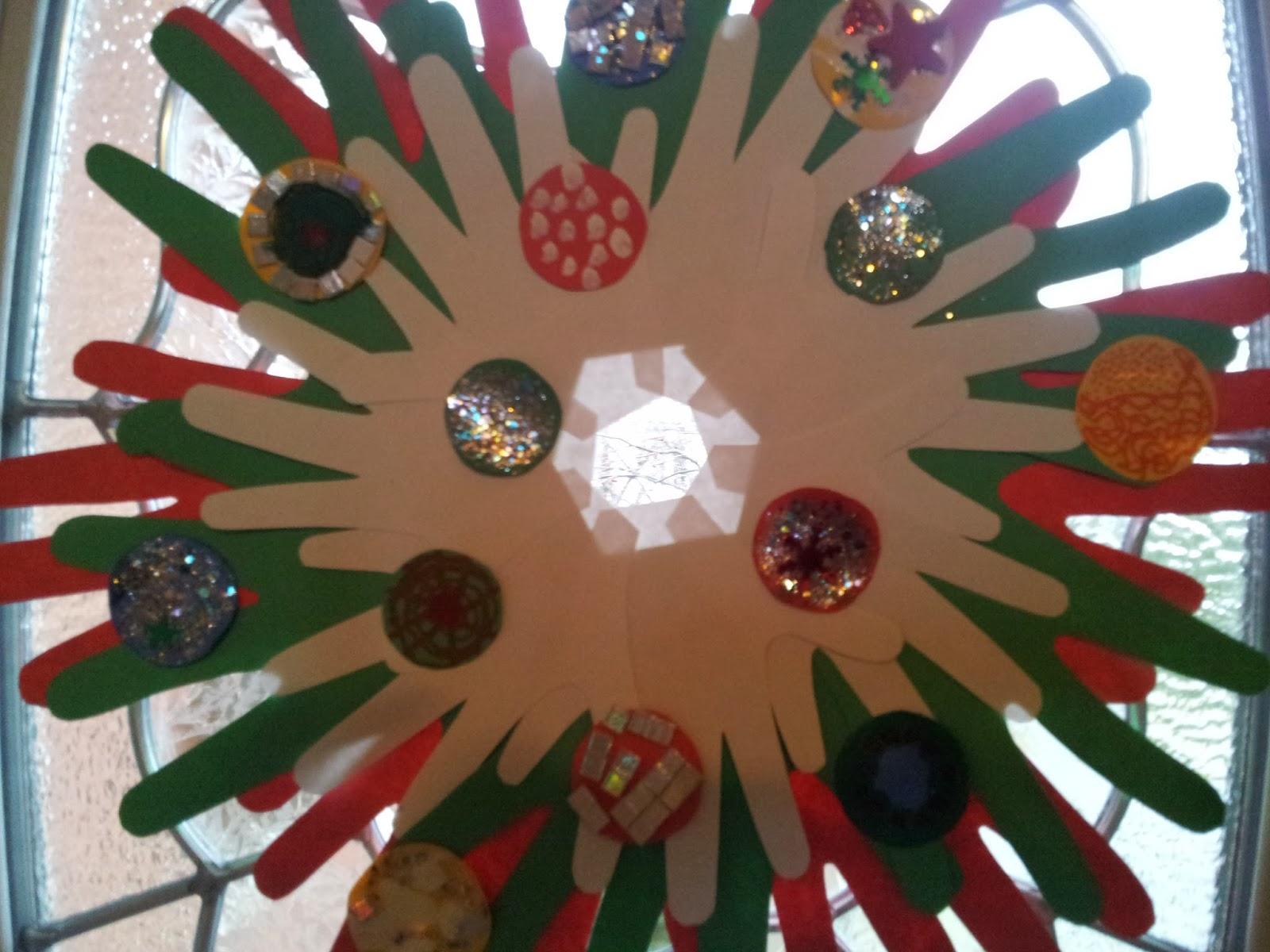 Handprint Christmas wreath craft