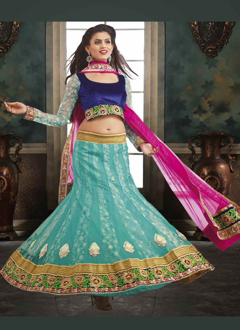 Purchase Designer Indian Lehenga Choli With Embroidered, Lace Border ...
