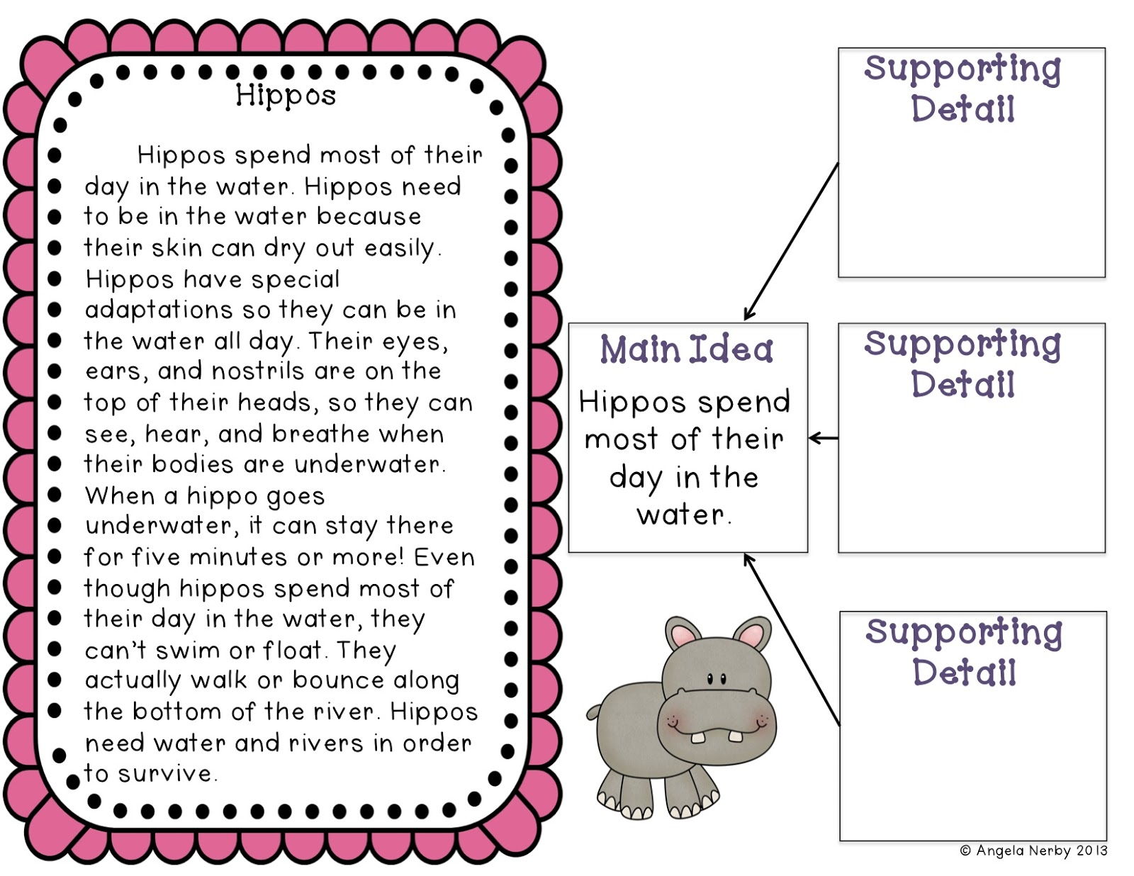 Main Idea Mania Freebie and Giveaway Hippo Hooray for Second – Main Idea Details Worksheet