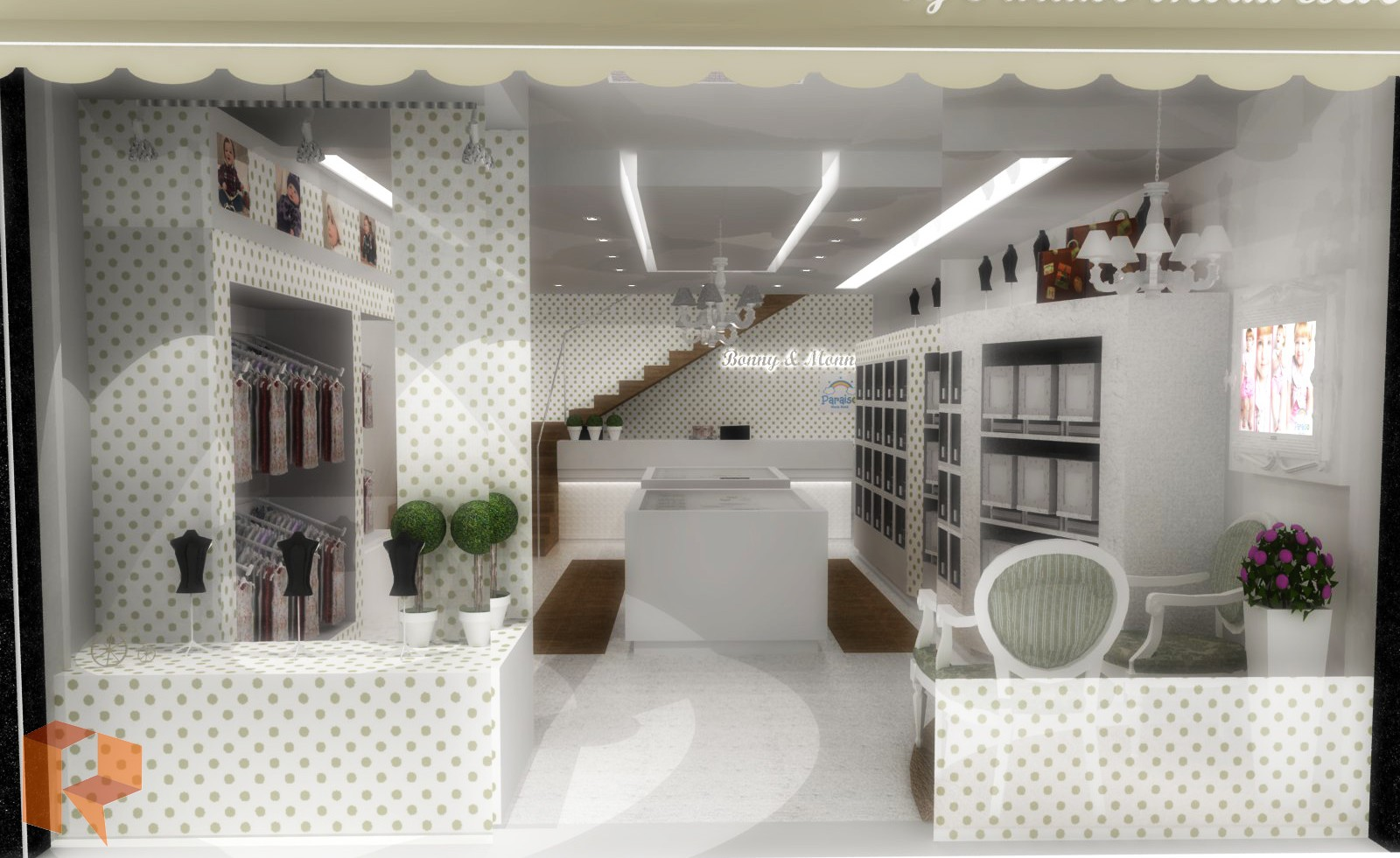 decoracao de interiores lojas:Arquiteta Aline Louise: Projeto de Interiores – Loja de Moda Bebê
