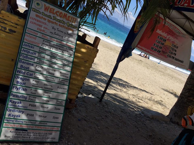 puerto galera water sport prices, puerto galera water sports rates,