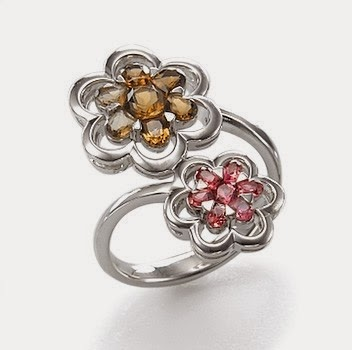 buy   Smokey Quartz and Pink Tourmaline Flower Ring