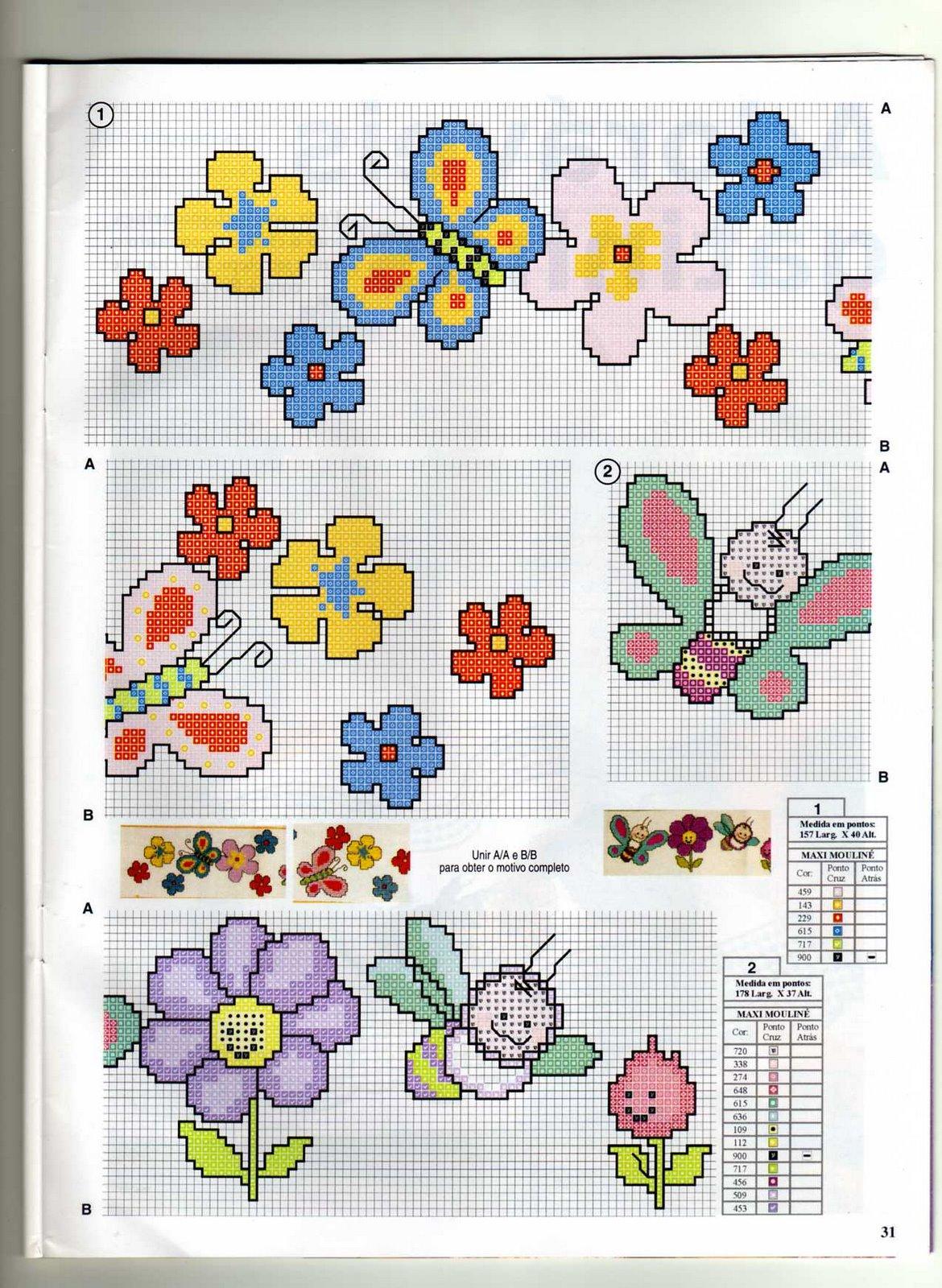 Artes artesanato revista de ponto cruz para pano de prato for Punto croce fiori e farfalle