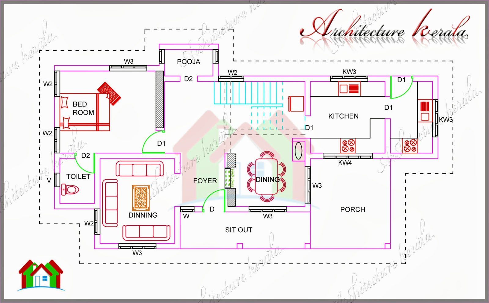 1700 SQUARE FEET HOUSE PLAN WITH POOJA ROOM ARCHITECTURE