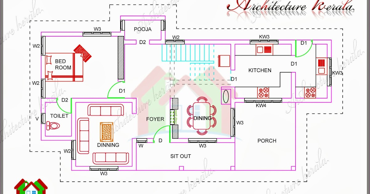 1700 square feet house plan with pooja room architecture for Cost to build 1200 sq ft cabin