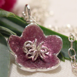 Silver Enamel Flower Necklace, Blackberry Purple Fused Glass Flower Pendant