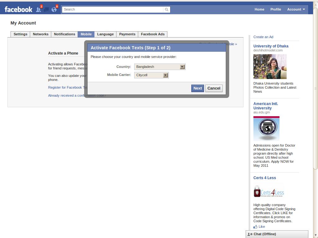 Bangladesh facebook login