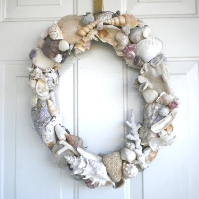 grapevine wreath with shells