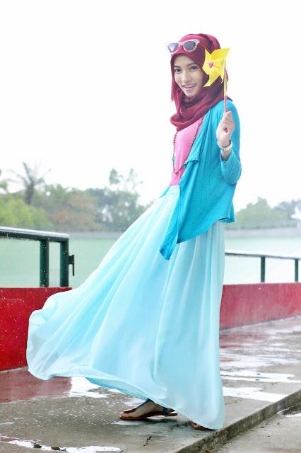 Model Rok Payung Hijaber Bahan Sifon Polos