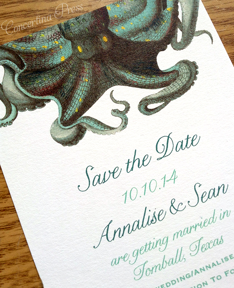 Octopus Save the Date by Concertina Press